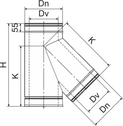 Схема тройника дымоходного 45° двустенного Версия Люкс