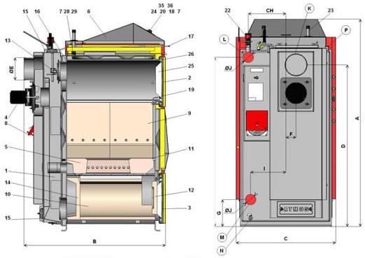 Схема котла Atmos C 30 S