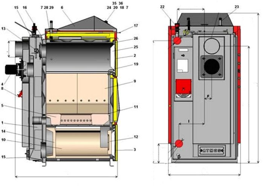Схема котла Atmos DC 20 GS