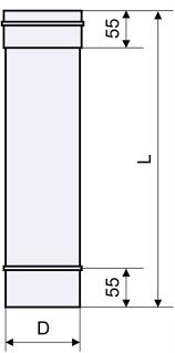 Схема трубы дыхоходной из нержавейки одностенная Версия Люкс