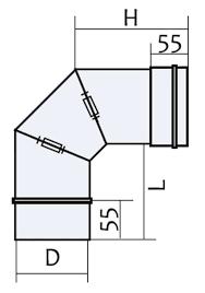 Схема колена поворотного из нержавеющей стали 0°-90° Версия Люкс